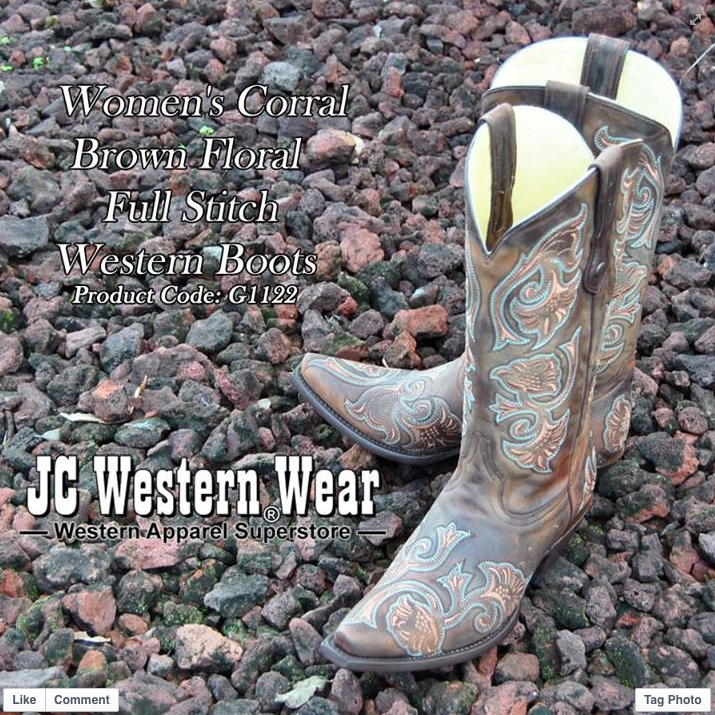 CORRAL Women/'s Floral Full Stitch Snip Toe Cowgirl Boots G1122